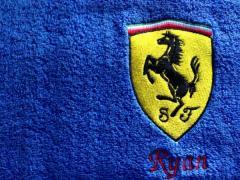 Towel with Ferrari Logo machine embroidery design