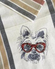 White terrier machine embroidery design