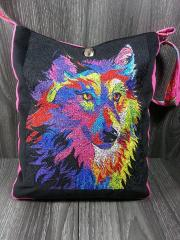 Bag with wolf photo stitch free embroidery