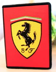 Document cover with Ferrari Logo machine embroidery design