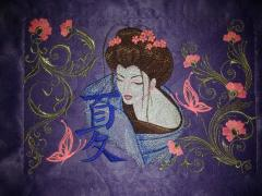 Sofa cushion with Geisha with Hieroglyphic embroidery design