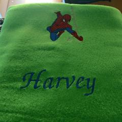 Bath towel with Spiderman rushes to rescue embroidery design