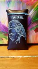 Leather case with Tauriel machine embroidery design