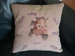 Cushion with angry cat free embroidery