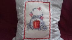 Cushion with candle cross stitch free embroidery design