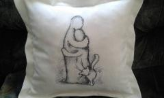 Cushion with family photo stitch free embroidery design