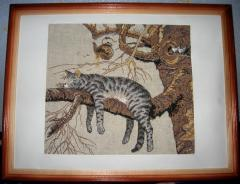 Framed lazy cat photo stitch free embroidery