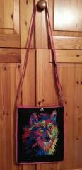 Embroidered bag with wolf photo stitch free embroidery design