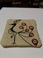 Embroidered coaster firebird free design