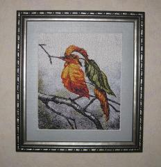 Framed cute small bird photo stitch free embroidery