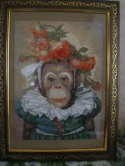 Framed fashion monkey photo stitch free embroidery