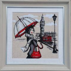 Framed London lady photo stitch free embroidery