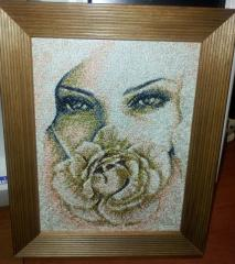 Framed woman and rose photo stitch free embroidery