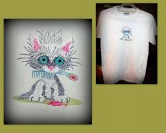 Kitten hair master embroidered shirt