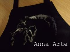 Shop bag with two loving cats free embroidery