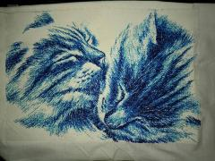 Two happy cats photo stitch free embroidery