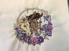 Two horses cross stitch free embroidery design