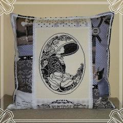 Vintage cushion with woman cross stitch free embroidery design
