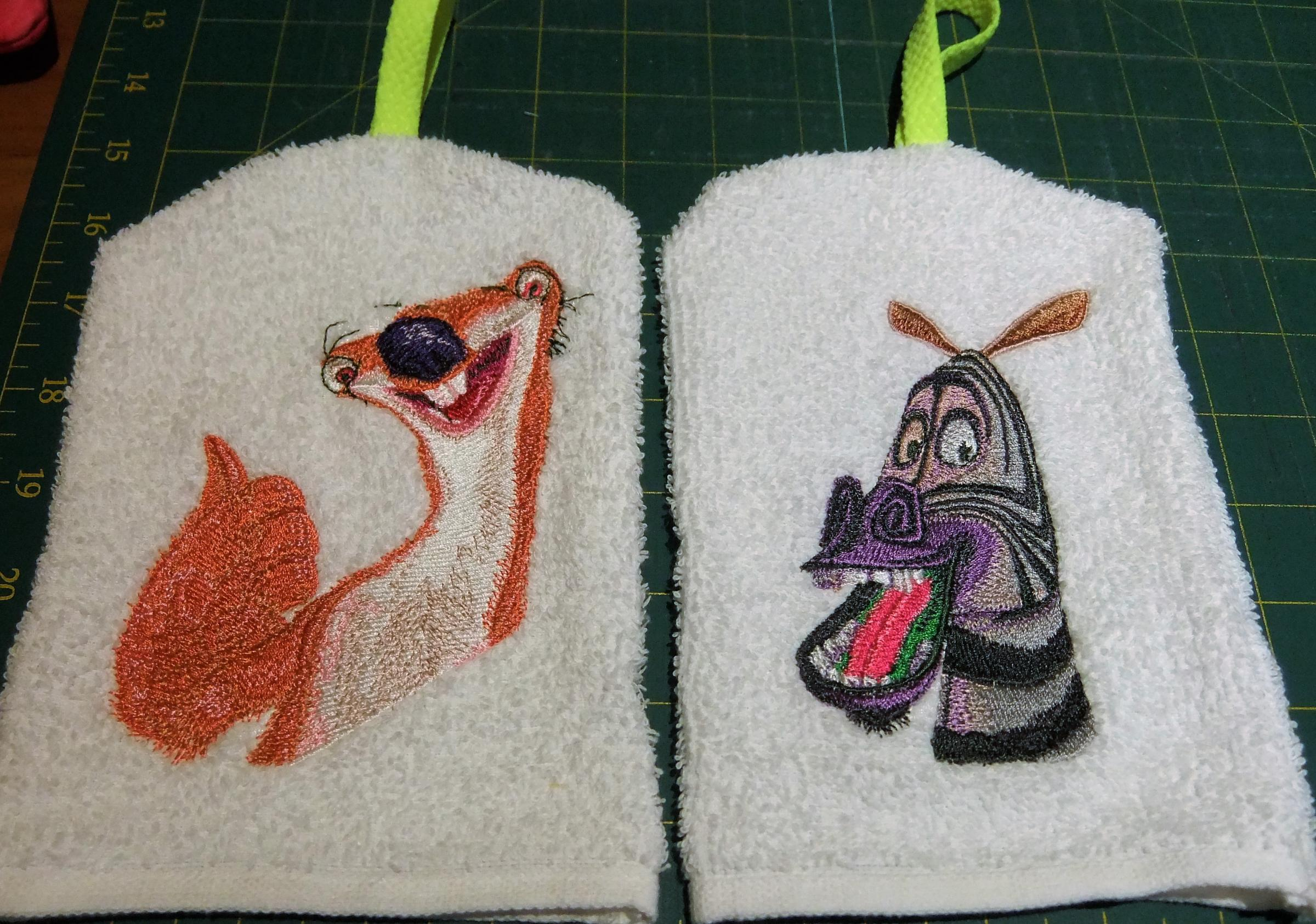 Wash Mittens with Magascar embroidery designs