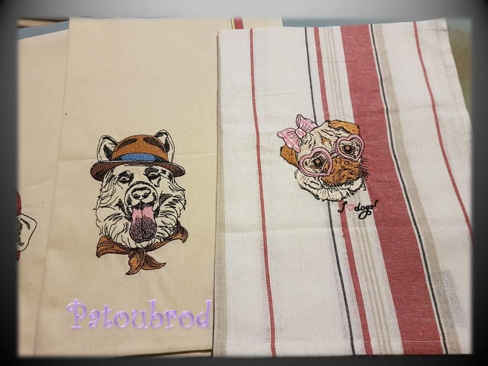 Linen with Dogs machine embroidery designs
