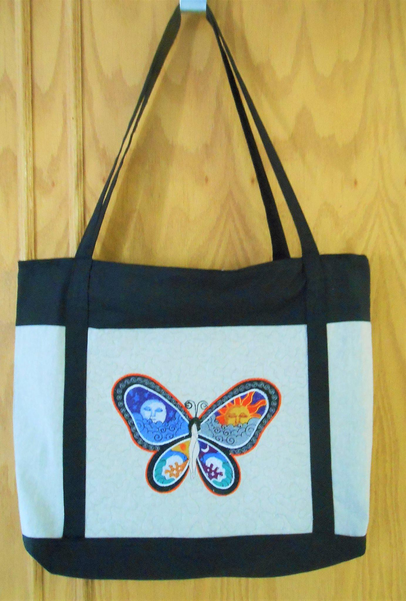 Hanbag with Fantastic Butterfly Night and Day free machine embroidery design