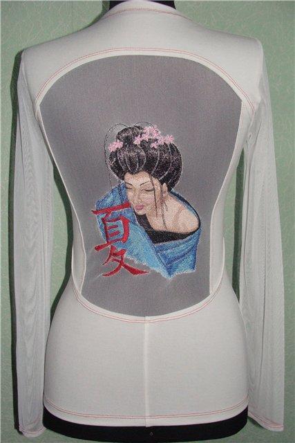 Women's costume with  Geisha with Hieroglyphic machine embroidery design