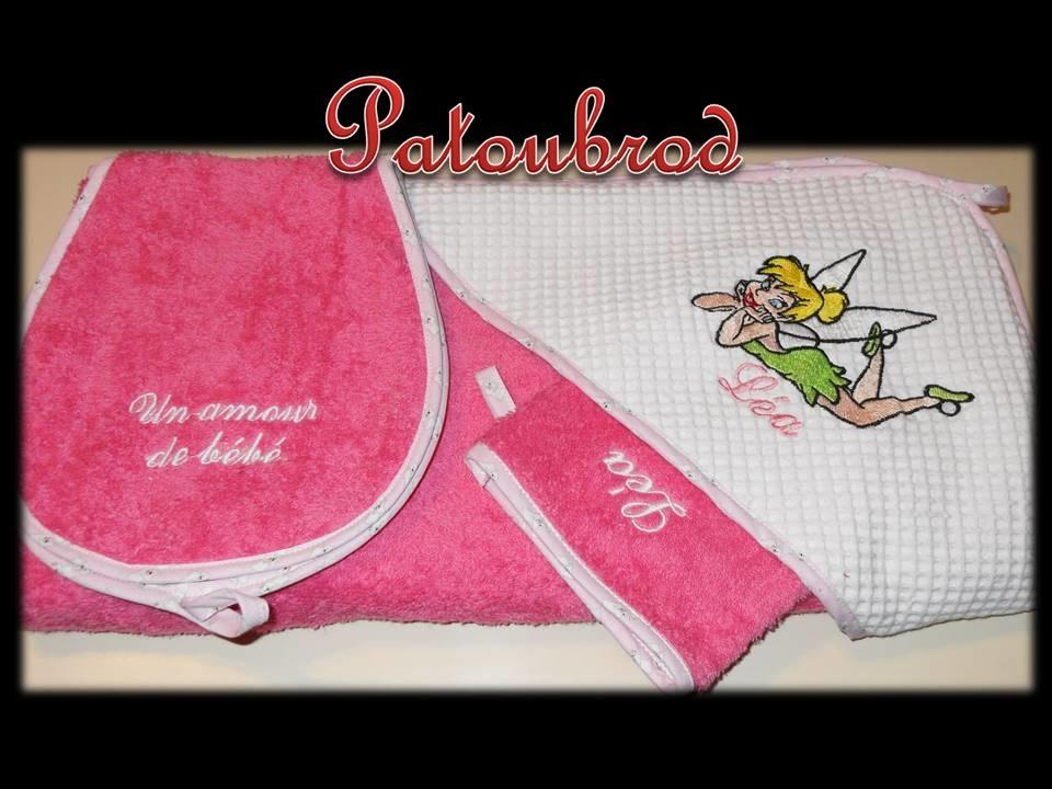 Bath set with Tinkerbell embroidery design