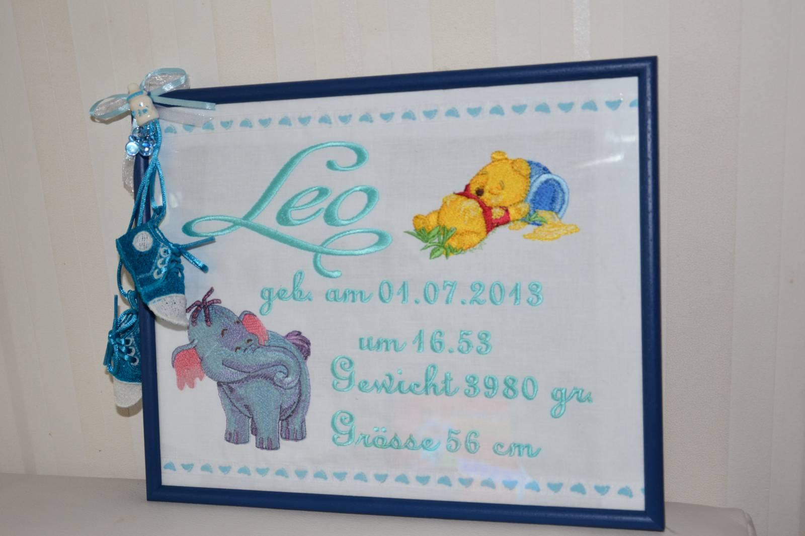 Framed with Winnie Pooh and friends embroidery design
