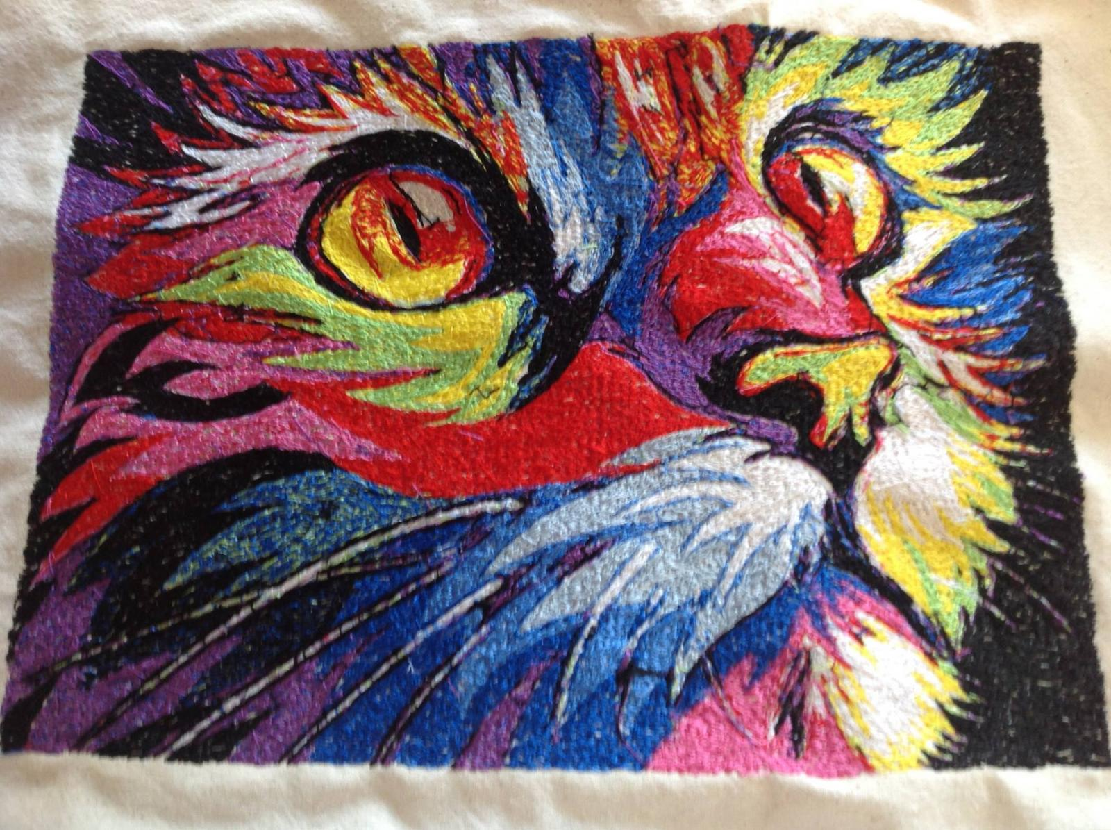 Modern color cat photo stitch free embroidery design