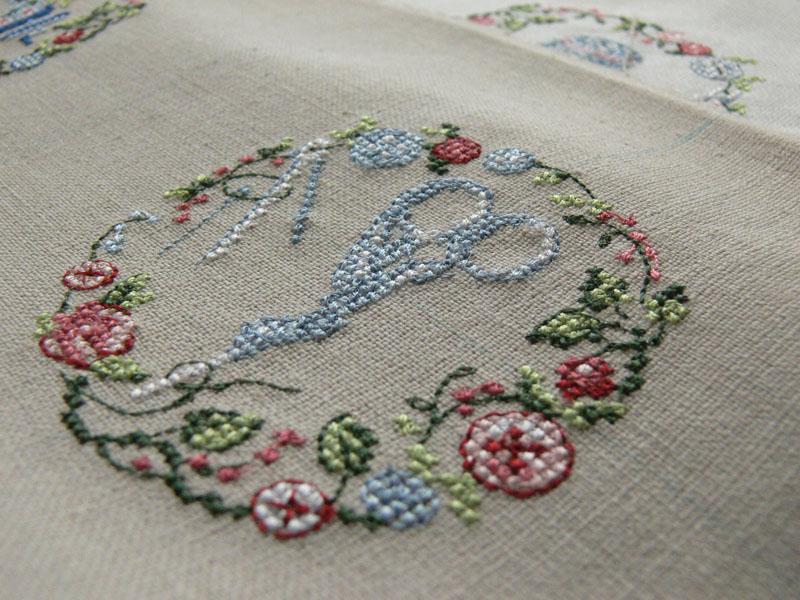 Scissors cross stitch free embroidery design