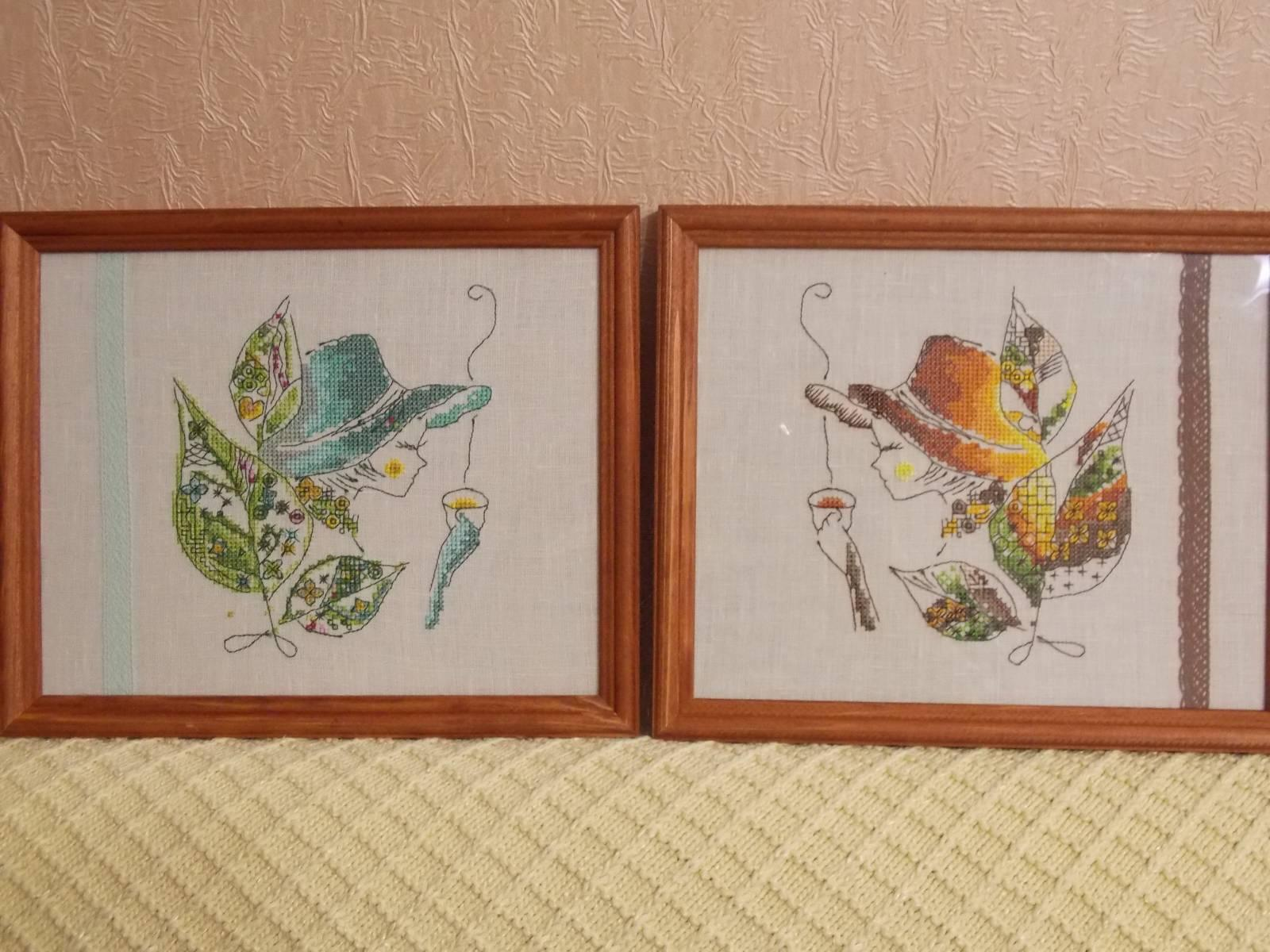 Two tea fairy cross stitch free embroidery design in fram