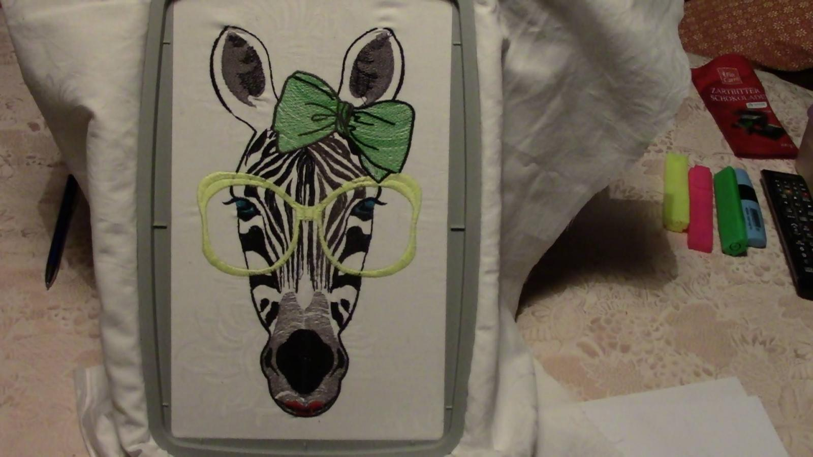 Zebra glasses in hoop free embroidery design showcase