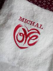 Embroidery love design on terry towel