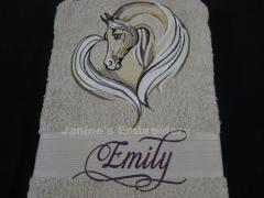 Towel with Horse heart free embroidery design