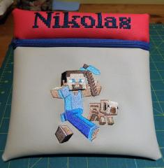 Cushion with  Minecraft embroidery design