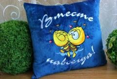 Cushion with Bee my Valentine embroidery design