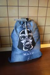 Backpack with Darth Vader machine embroidery design