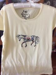 Shirt with Floral horse embroidery design