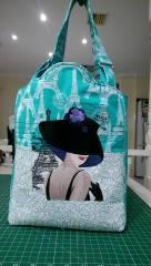 Women's handbag with French coquette machine embroidery design