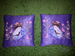 Silk cushions with Geisha with Hieroglyphic embroidery design