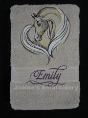 Bathroom towel with Horse heart embroidery design