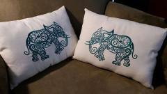 Indian elephant machine embroidery design