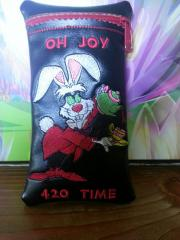 Leather case with March Hare with tea pot embroidery design