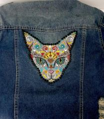 Mexican cat machine embroidery design