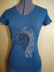 Women's shirt with Tribal Wolf free embroidery design