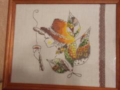 Autumn tea fairy cross stitch free embroidery framed