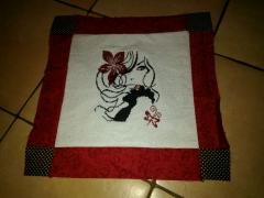Carpet with woman red and black cross stitch free embroidery