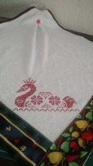 Placement with red swan cross stitch free embroidery design