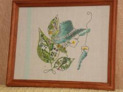 Summer tea fairy cross stitch free embroidery in frame