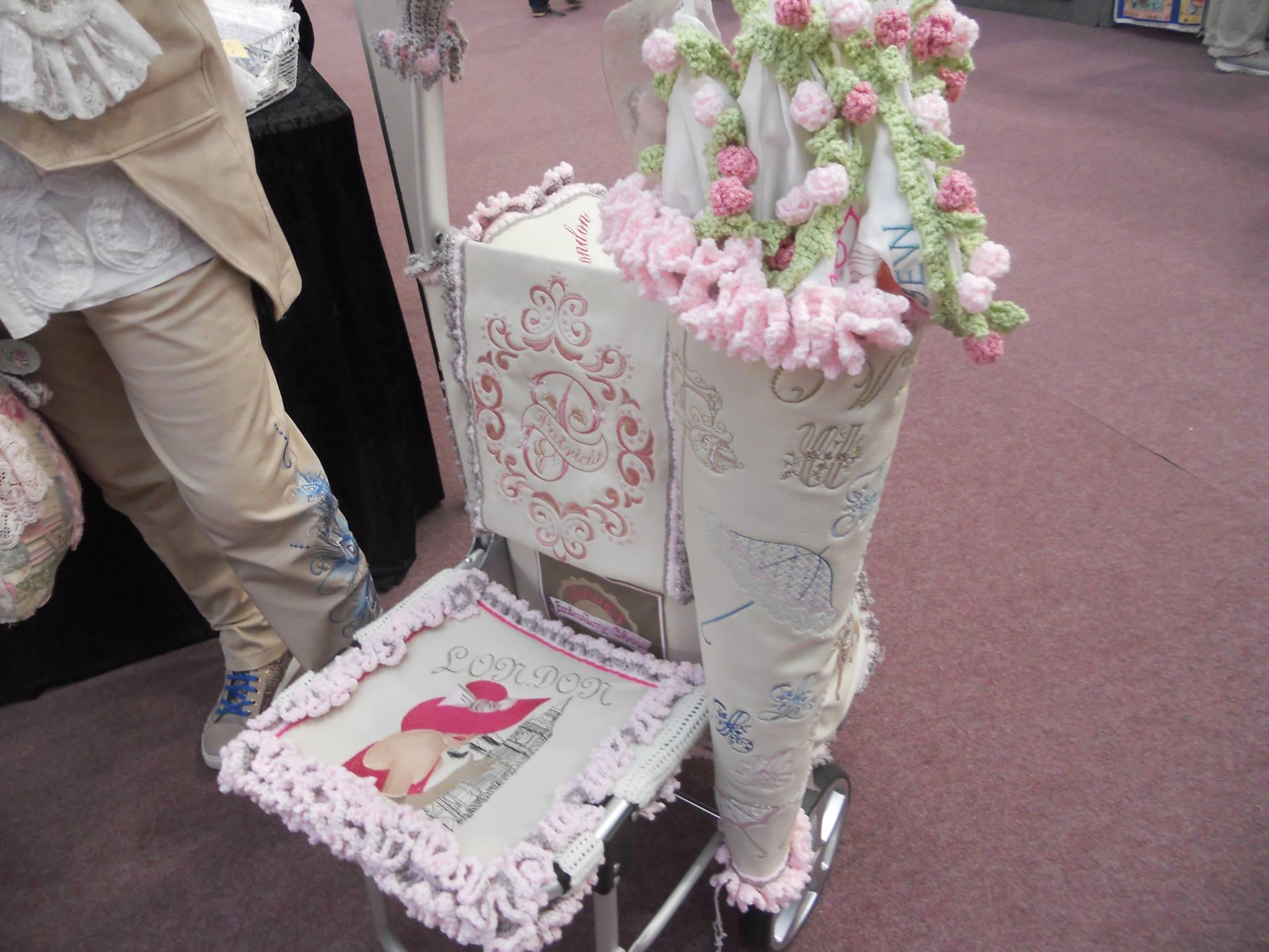 Invalid chair with english coquette machine embroidery design